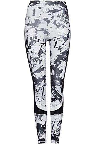 FIND Damen Zweifarbige Sport-Leggings , Weiß (Glass Print/Black), 36 (Herstellergröße: XS)