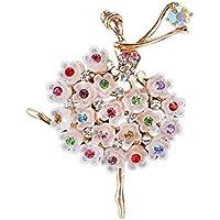 Leisial™ Elegante Pin Broche del Ballet con Diamante Color para Navidad Decoración Clip Accesorio para Mujer Regalo de Navidad Cumpleaño