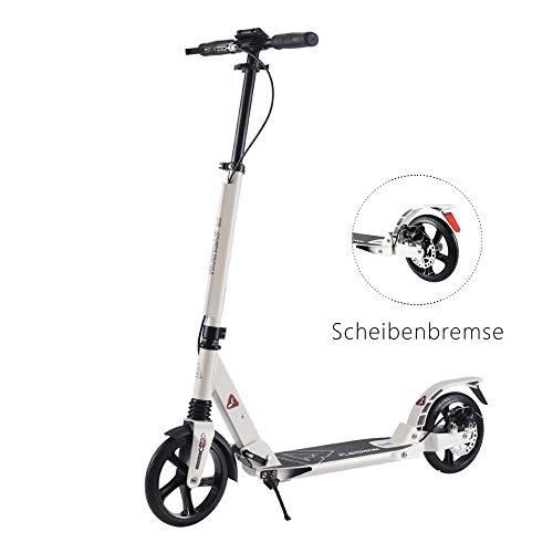 PLAYSHION Kickscooter mit Scheibenbremse ABEC-9 Kugellagern Doppel Federung 200mm Wheel klappbar Tret-Roller City-Scooter für Kinder und Erwachsene