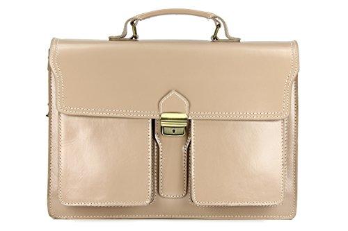 """Belli """"Design Bag B ital. Leder Businesstasche Arbeitstasche Messenger Aktentasche Lehrertasche Laptoptasche unisex sand beige - 40x30x14 cm (B x H x T)"""