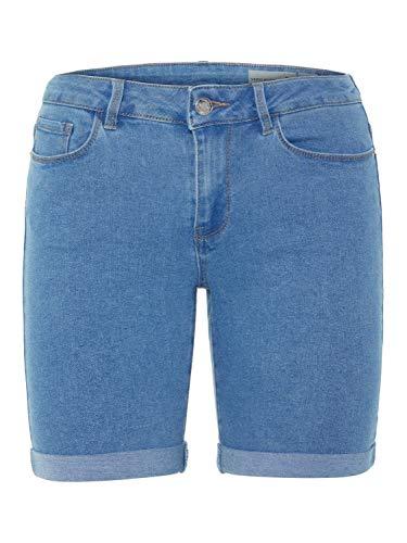 VERO MODA Damen Short VMHOT Seven NW DNM Long F Short, Größe:S, Farbe:Light Blue Denim (10193078) Long Blue Denim