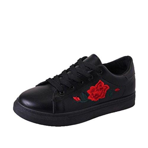 OverDose Damen Sneakers Mode-Frauen Riemen Sport Running Sneakers Stickerei Blumen Schuhe Flach Schuhe Schwarz