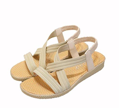 WZG Neue Frauen Sandalen im Sommer Fischkopf flachen Sandalen einfache elastische feste Student Schuhe Sandalen Korea Beige