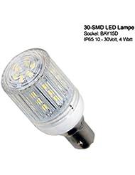 30 SMD IP LED Lampe mit Schutzkapsel, wasserfest (IP65) für BAY-15D Sockel. Energiespar Lampe für Boot, Schiff Marine Beleuchtung Positionsleuchten Verbrauch nur 4W Verbrauch 10 - 30 Volt BAY 15D