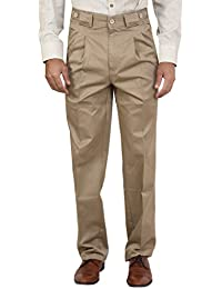 Bottom's Cotton Chinos Two Pleated Cartini Beige Colored Trouser For Men