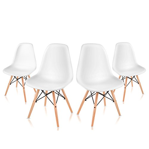 Mc Haus Pack Sillas Comedor Replica Tower Eames DSW, Madera, Blanco, 51x43x82 cm, 4 Unidades