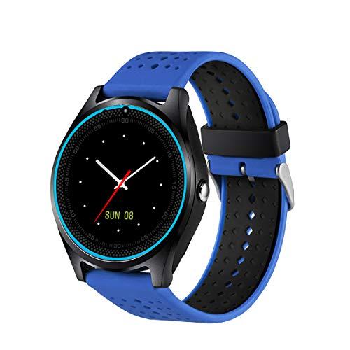Hemobllo V8 Intelligente Bluetooth Armbanduhr für Samsung iPhone iOS Android (Blau)