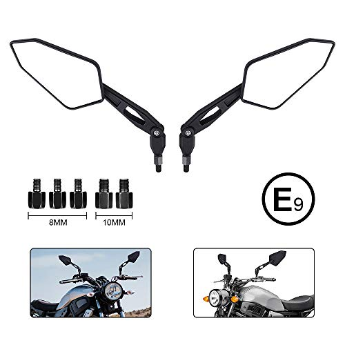 Motorrad Rückspiegel Universal 8mm 10mm Motorrad Spiegel E-Prüfzeichen Rückseitenspiegel Seitenspiegel Universal Kompatibal mit MT 07 MT 09 SV650 GSX-S1000 (Uhrzeigersinn Sehen Den Gegen)