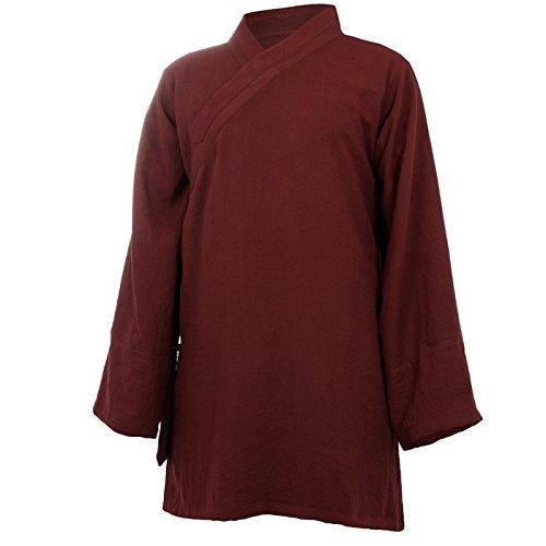 wu designs Baumwolle (Leicht) Tai Chi Oberteil diagonaler Kragen - Taiji Shirt - Tai Chi Anzug - Kung Fu - Wushu - Bordeaux - 165