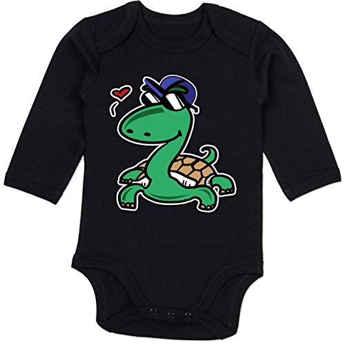 Tiermotive Baby - Schildkröte mit Sonnenbrille - 6-12 Monate - Schwarz - BZ30 - Baby Body Langarm