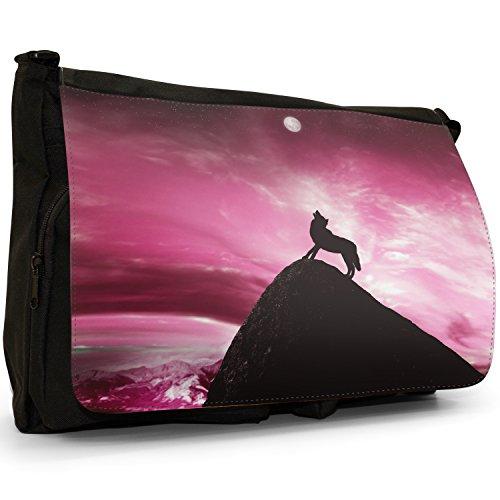 Lupo che ulula alla luna piena grandi classiche nero borsa a tracolla tela, scuola/Borsa Per Laptop rosa
