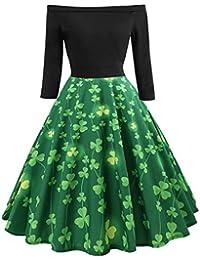 LianMengMVP Robe de soirée à Manches Longues pour Femme Vintage Cocktail  Party Retro Swing Dress Inclure 4dead8063af7