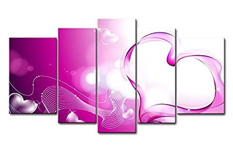 Violet 5pièces Décoration murale Tableau courbes Cœur des Impressions sur toile images à la abstraite à l'huile pour Home Décor Imprimé moderne Décoration pour bureau murs