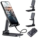 STRIFF Foldable Tablet Mobile Stand Holder - [2021 Updated] Angle & Height Adjustable Desk Cell Phone Holder Anti-Slip Compat