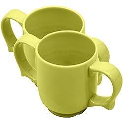 Ability Superstore - Juego de 2 tazas con 2 asas (cerámica), color verde