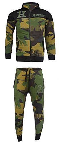 Kids Boys Tracksuit HNL Print Camouflage Junior Hooded Track Suit Full Zip Jogging Top Bottoms Football Boxing Martial Art Exercise Running Clothing CAMEO GREEN AGE 7-8