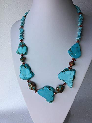 Tibet-Perlen Halskette mit Türkis und Koralle, Tibetkette, Exotisch, Orientalisch