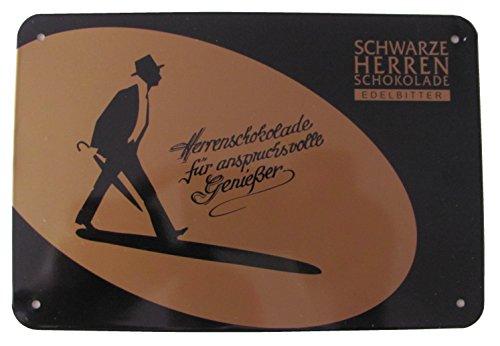 Stollwerck - Schwarze Herren Schokolade Edelbitter - Herrenschokolade für anspruchsvolle Genießer - Blechschild 18,5 x 12,5 cm (Herren-edelbitter-schokolade)