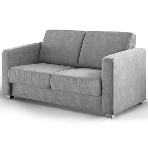 Moebella 2-Sitzer Schlafsofa Federkern Mila Grau Gästebett Stoff Sofa Couch Schlafcouch Bettfunktion