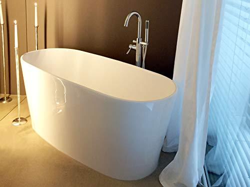 Freistehende Badewanne Mineralguss - oval weiß - inkl. Ablaufventil & Siphon - 154x67 - M