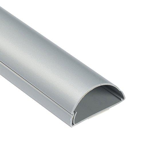 D-Line 1M5025A TV halbrunder Kabelkanal | Kabelabdeckung | 50x25 mm, 1 m Länge, Aluminium-Effekt - Aluminium Kabelabdeckung