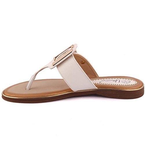 Unze New Women 'Geoxy' Open Toe Thong Casual Carnival Flat Summer Chaussures Sandales Chaussures Taille 3-8 Blanc