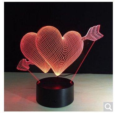SQDTNSLT-doni creativi piccolo led lampada notte di soggiorno camera da letto Decorazione lampada 3D lampada a stella ,una freccia attraverso il cuore