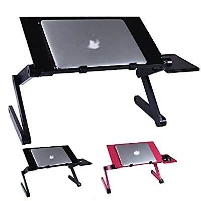 Aluminum Adjustable Portable Folding Laptop Computer Notebook Table Stand Desk Bed Mate Tray 360° Sofa Tray in Black/Rose - inexpensive UK light shop.