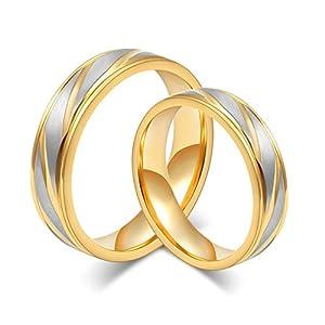 Beydodo 2 Edelstahl Trauringe Gold Hochglanzpoliert Breite 6/4 mm Rund Gold Verlobungsringe Paar