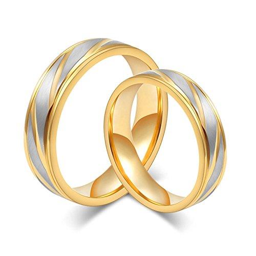 (Beydodo 2 Damen Herren Trauringe Edelstahl Hochglanzpoliert Breite 6/4 mm Rund Trauring Partner Ringe Gold Damen Gr. 49 (15.6) & Herren Gr. 67 (21.3))