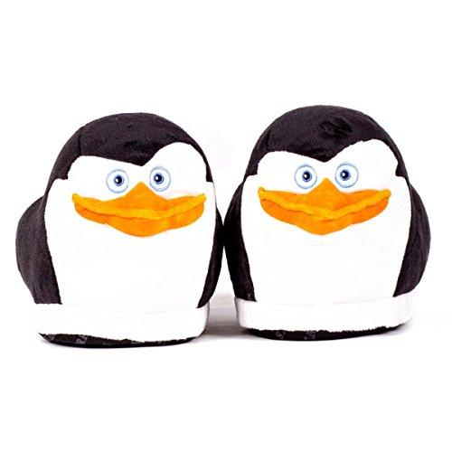 Sleeper'z – Chaussons peluche Skipper le Pingouin – Madagascar – Adulte et enfant - Homme et Femme Noir