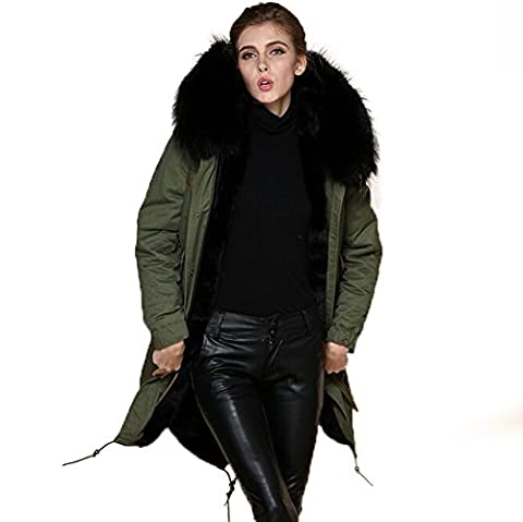 PARKA XXL Kragen aus 100% ECHTPELZ ECHTFELL Jacke Mantel Khaki 8 Farben (L / 38, Schwarzer pelz)