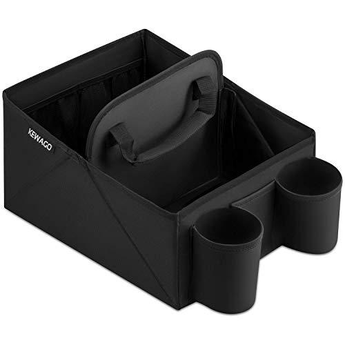 Kewago Auto Organizer und Utensilientasche für Rückbank und Beifahrersitz und - Zusammenfaltbare Auto Sitztasche mit Getränkehalter