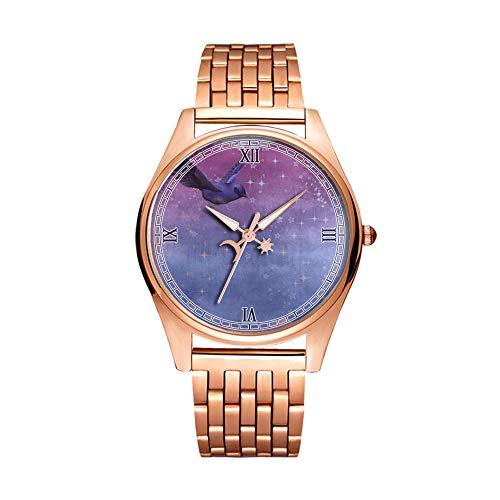 Minimalistische Goldene Fashion Quarz-Armbanduhr Elite Ultra Dünn Wasserdichte Sportuhr Künstlerisches Muster -022.Hintergrund Vogel Fliegen Lila -
