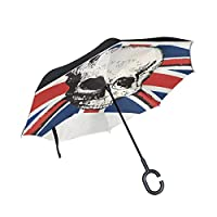 FriendShin Reverse Folding Umbrella,British UK Flag Pirate Skull Inverted Golf Umbrellas with Double Layered Polyester Canopy and Reflective Edge at Night,Interior Printing
