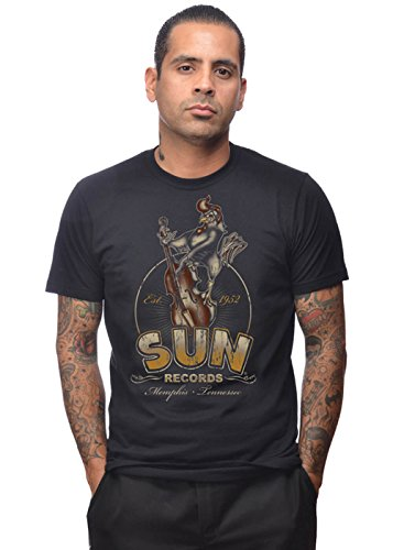 STEADY CLOTHING Sun Roosterbilly T-Shirt Homme, Noir, FR : 3XL (Taille Fabricant : XXXL)