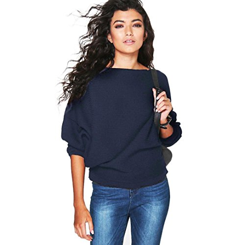 Damen Sweater,Honestyi Frauen Batwing Sleeve Knitted Pullover lose Pullover Pullover (S, Marine)