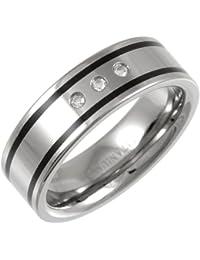 Theia Titanium and Enamel Inlay Flat Court 0.06ct Diamond Matt 7 mm Ring