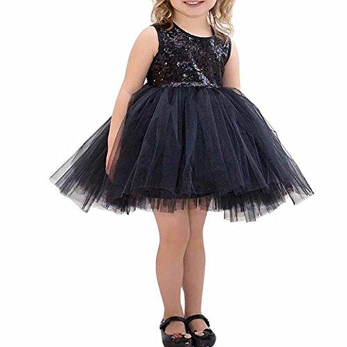 Bekleidung Longra Baby Kinder Mädchen Prinzessin Kleid Ärmelloses Pailletten Kostüm Tutu Ballkleid Festkleid Partykleider(1-6Jahre) (100CM 3-4 Jahre, (Kostüm Trikot Schwarz Katze)