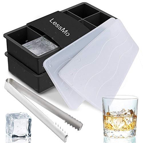LessMo Eiswürfelform Mit Deckel Aus Silikon Eiswürfelbehälter 2er Pack BPA-Frei Für 16 Große XXL Eiswürfel (5cm) [Updated]