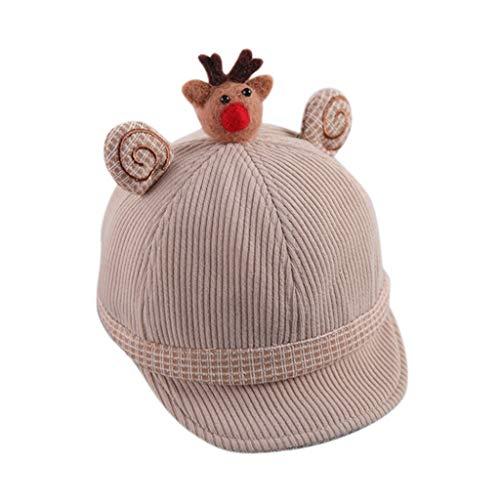 Electri Weihnachtsmütze für Kinder, Baseballmütze, Dekoration, Schneemann, fröhliches Weihnachtsmotiv, Hip-Hop-Stil, im Freien, Snapback 45-49CM beige
