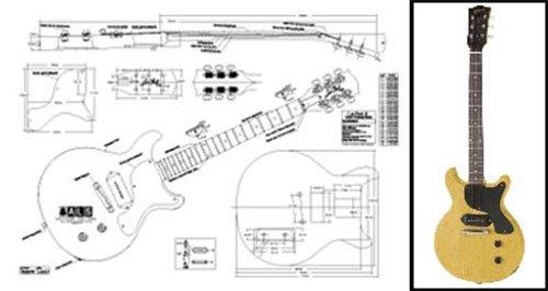 Plan de Gibson Les Paul Jr. double-cutaway guitarra eléctrica–escala completa impresión