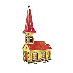 Creative Assemble Puzzle Toys Child Early Education Wooden 3 D Puzzle House Norwegian Church