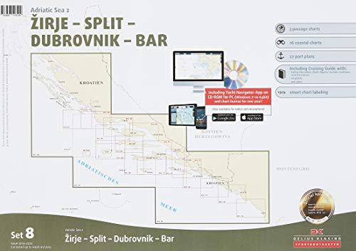 Sportbootkarten Satz 8: Adria 2 (Ausgabe 2019/2020): Zirje - Split - Dubrovnik - Bar -