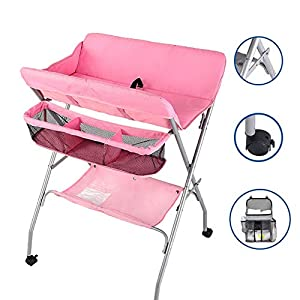 Pink Nursery Changing Table for Infants/Babies, Foldable Newborn Care Station Dressing Tables with Safety Strap, 0-3 Years Old (Color : Pink)   14
