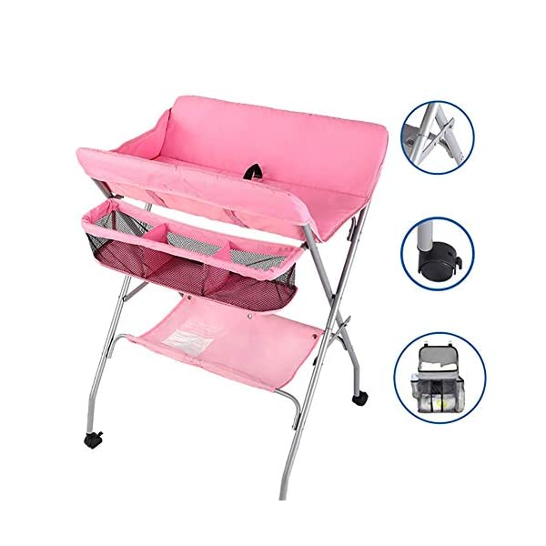 Pink Nursery Changing Table for Infants/Babies, Foldable Newborn Care Station Dressing Tables with Safety Strap, 0-3 Years Old (Color : Pink) GUYUE Size- As shown, 41x63x105cm (1cm=0.39 inch); Countertop height (77-80 82)cm; Suitable for height 145cm and above. 20cm Heightened Fence: Easy to change diapers and clothes without worrying about your baby rolling or slipping out. Material: Steel pipe + 620D Oxford Waterproof Fabric + Environmentally friendly PP. (Bearing capacity of 25kg.) 1