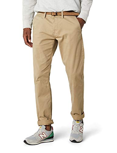 TOM TAILOR Herren Hose Travis Casual Chino w/ Belt, Beige (chinchilla 8443), 34/36