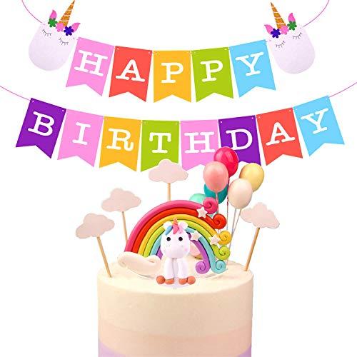 TUPARKA Rainbow Unicorn Cake Toppers Kit Decoraciones de pasteles para niños Suministros de fiesta de cumpleaños con colorido Unicornio Banner de cumpleaños, Nubes Globo Decoraciones de cumpleaños