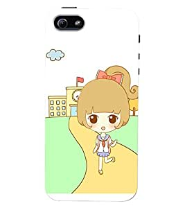 Printvisa Premium Back Cover Sweet Girl Back From School Design For Apple iPhone 5::Apple iPhone 5S