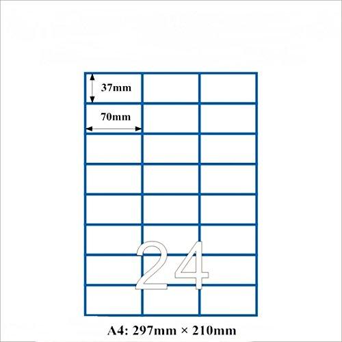 RoseFlower® Feuille A4 de 100 planches d'étiquettes, 24 étiquettes blanches adhésives (2400 étiquettes de 70 x 37 mm Convient pour Amazon FBA expédition)